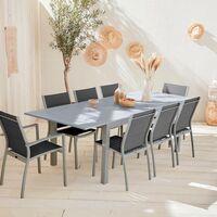 Salon de jardin Chicago 8 places table à rallonge extensible 175/245cm alu textilène Gris / Gris foncé