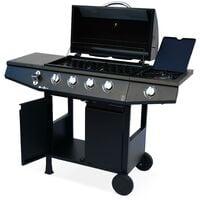Barbecue gaz - Treville - Barbecue 4 brûleurs + 1 feu latéral noir. avec thermomètre
