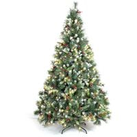 Sapin de Noël artificiel Deluxe avec guirlande lumineuse. décorations et pied inclus 210 cm