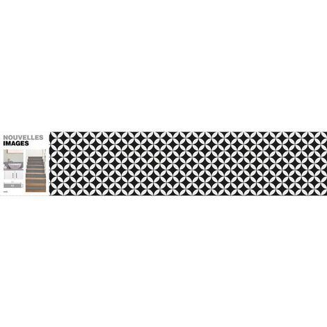 Stickers rosaces noir et blanc 98 x 19.5 cm (Lot de 3) - Noir