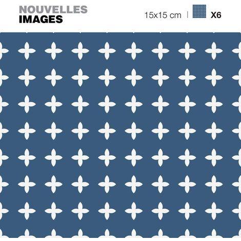 Stickers croix blanches sur fond bleu 15 x 15 cm (Lot de 6) - Bleu