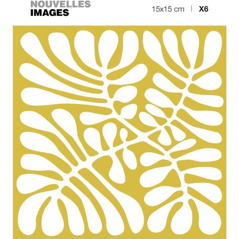 Stickers Mininga blanc fond ocre 15 x 15 cm (Lot de 6) - Ocre