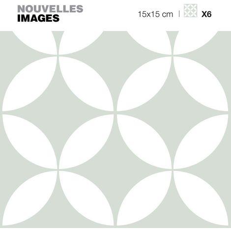 Stickers rosaces blanche et vert pastel 15 x 15 cm (Lot de 6) - Vert pastel