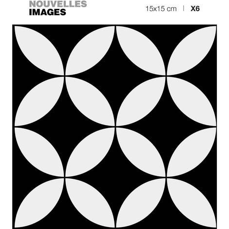 Stickers rosaces noir et blanc 15 x 15 cm (Lot de 6) - Noir