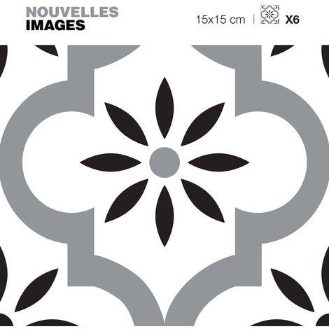 Stickers motif oriental gris - blanc et noir 15 x 15 cm (Lot de 6) - Gris