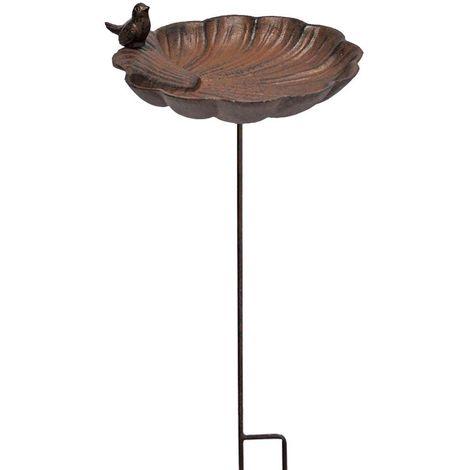 Bain d'oiseau à planter coquille en fonte - Marron
