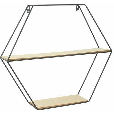 Etagère en bois et métal hexagonale 46 cm - Noir
