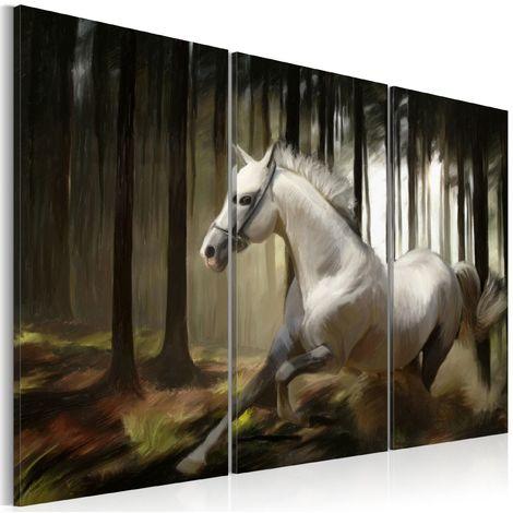 Tableau - Cheval blanc parmis les arbres 60x40