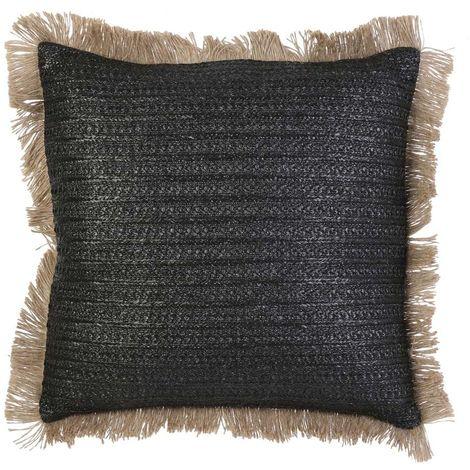 Coussin en raphia noir 40x40 cm - Noir