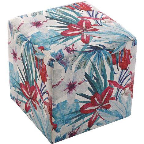 Pouf salon carré en tissu motifs végétaux Flores Bleu - rouge - Bleu - rouge