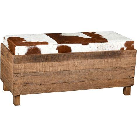 Coffre banquette en bois recyclé et peau de vache