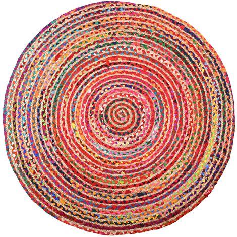 Tapis rond coloré en jute et en coton India