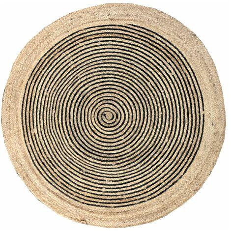 Tapis rond en jute et coton noir Diamètre 120 cm