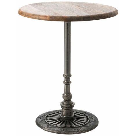 Table bistrot métal et marbre plateau en manguier