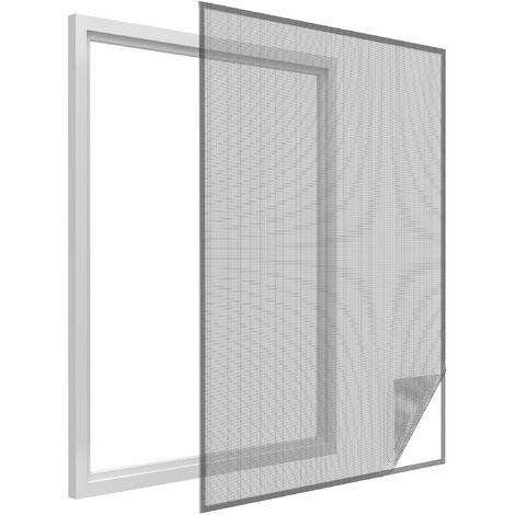 Moustiquaire fenêtre anthracite 18g/m² bande auto-agrippante 7,5 mm max 100x100 cm - Anthracite