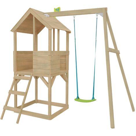Cabane enfant sur pilotis bac à sable et portique intégré Tower Avec portique