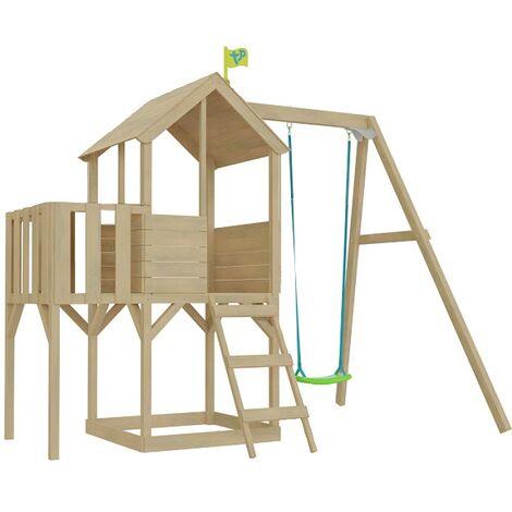 Cabane enfant sur pilotis bac à sable et portique intégré avec cloisons décor lune Tower Avec portique et cloisons