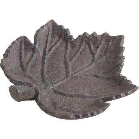 Mangeoire oiseau feuille en fonte