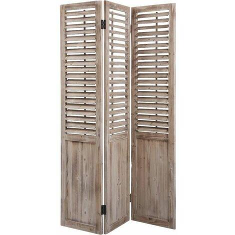 Paravent 3 panneaux en bois vieilli