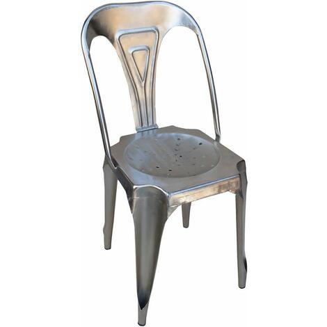 Chaise Vintage en métal argent - Argent