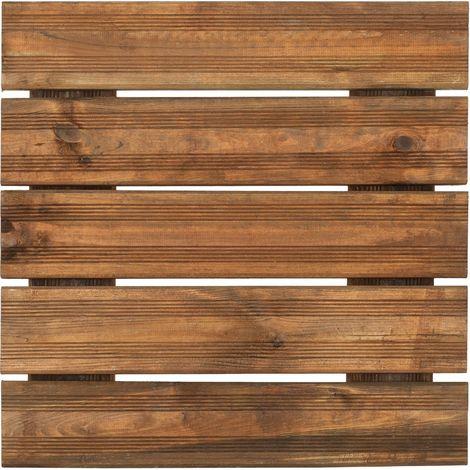 Dalle rénurée en pin teinté brun 50 cm - Teinté brun