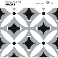Stickers motif fleurs blanches - grises et noires 15 x 15 cm (Lot de 6) - Noir