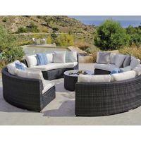 Salon ISA 5 places en resine tressee ronde luxe - GRIS - PVC-ISA-SALON