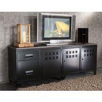Meuble TV bois métal industriel noir - Noir