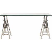 Bureau atelier réglage en acier et verre - Inox brillant