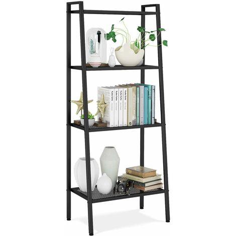 Homfa Ladder Shelf Standing Shelf Unit 4 Tier Bookshelf Display Rack Bookcase Storage Black 60 * 35 * 147cm