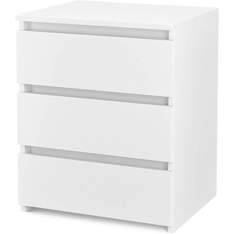 Homfa Chest of Drawers Bedside Table Drawer Cabinet 3 Storage Drawers Bedroom Furniture White (45x38x55.5cm)