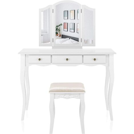 Homfa White Dressing Table Makeup Vanity Table Set, Removable Tri-Folding Mirror and 8 Jewelry Necklace Hooks with 7 Drawers and 6 Makeup Organizers with Cushioned Stool, 108 x 45 x 134 cm