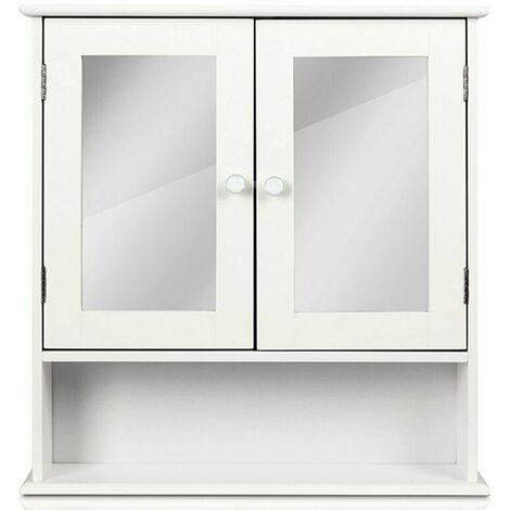 Homfa wall cabinet white with mirror + shelf 56 * 13 * 58cm mirror cabinet hanging cabinet