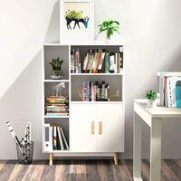 Homfa Sideboard Storage Cabinet Free Standing Cupboard Bookcase Storage Unit Display Shelf 2 Doors 5 Compartments White 80x23.5x119cm