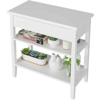 Homfa Side Table with Flip Top Storage Shelf Wooden Sofa Chair Bedside Couch Console Accent Tables Night Stand for Living Room Bedroom, White, 60 x 30 x 60cm