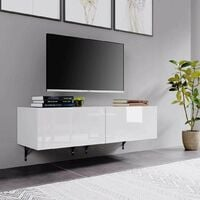 Homfa 120cm Wall Mounted Hung Floating White High Gloss TV Unit Media Cabinet w/ Door