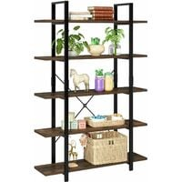 Homfa Bookcase 5 Tier Industrial Bookshelf Free Standing Shelving Unit Vintage Display Shelf Storage Rack for Home and Office 105.2x33x177.5cm