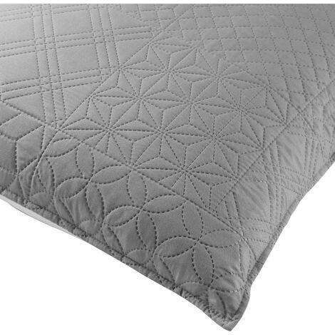Housse de coussin 60x60 cm microfibre bicolore cottage Anthracite/blanc