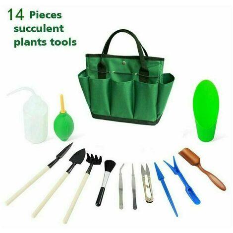 Kit succulente de jardin avec sac organisateur, ensemble d'outils de jardinage à la main Mini intérieur, 13 pièces d'outils pour les bonsaï Planteur Miniature Fairy Planting Care