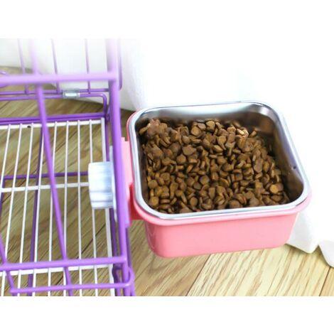 Animaux de Compagnie Suspendus Cage Gamelles, Acier Inoxydable Animaux Alimentateur Gamelle Nourriture Bols pour Chien Chat pour Petits Animaux Chien Chat Lapin Oiseau