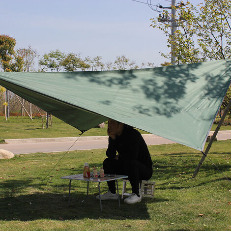 Voile d'Ombrage Triangulaire Toile Imperméable Protection Solaire en Tissu Anti Rayons UV et Respirant pour Jardin Camping,vert