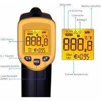 -58°F~ 932°F Thermomètre Infrarouge à Main Sans Contact, Affichage LCD, Thermomètre Numérique Cuisine, Thermomètre Industriel IR Thermomètre à Pyromètre, -20~380 ° C (PAS pour les humains),Facile à utiliser