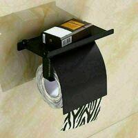Porte Papier Toilette, Support Papier Rouleau sans Percage Derouleur Papier WC,Distributeur Papier avec Tablette, Colle Auto-adhésive et Mural Pour Salle de Bain (Noir)