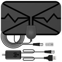 Antenne TV, antenne TV numérique haute définition à amplification intérieure pour smart TV, prenant en charge la TV 4K 1080P et l'amplificateur d'amplificateur TV haute définition extérieur pour tous les téléviseurs, pour télécommande de chaîne locale ave