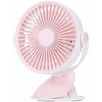 USB Ventilateur Pince 2021, Ventilateur Bureau avec Batterie Rechargeable, 3 Vitesses Rotation Silencieux Refroidissement Air pour Bureau Domicile Poussette,rose