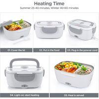 Boîte à lunch électrique pour voiture et maison, bureau-12V-24V/110V 40W chauffe-aliments portable, boîte à lunch chauffante pour hommes et adultes avec récipient en acier inoxydable de qualité alimentaire 1.5L, 1 fourchette et 1 cuillère-gris.