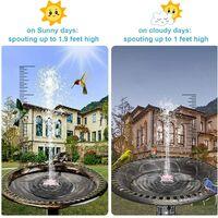 Fontaine de bain d'oiseaux solaire, version améliorée de la pompe de fontaine solaire 1.4W, fontaine flottante de mangeoire à oiseaux solaire, petite pompe à eau solaire avec 5 buses, utilisée dans les étangs à poissons, les piscines, les jardins extérieu