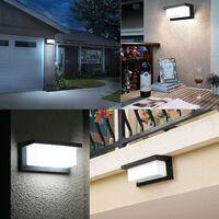 Applique murale extérieure LED avec 360 ° Éclairage extérieur détecteur mouvement Moderne Étanche Applique extérieure porche lampe externe aluminium IP65 18W pour le patio maison,Blanc Froid