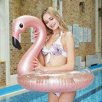 Matelas Piscine Lits gonflables Gonflable Rose Goldo Flamingo Champagne Lit Flottant Floating Rangée Bague Natation Anneau Adulte Enfants Riding 120cm