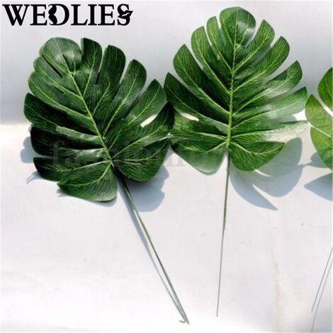 Partido verde de la rama de la moda Monstera artificial rama de la palmera hoja del helecho tortuga planta del árbol de follaje Suministros Mohoo